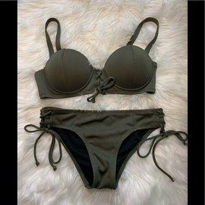NWOT LA Hearts Army Green Side Tie Bikini S